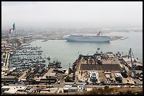 Harbor and cruise ship from above, Ensenada. Baja California, Mexico (color)