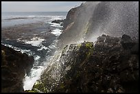Cliffs and spray from blowhole, La Bufadora. Baja California, Mexico (color)