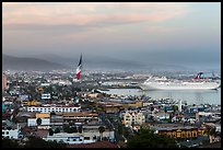 Ensenada harbor, and cruise ship at sunset. Baja California, Mexico (color)