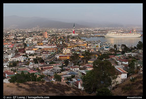 Ensenada and harbor at dusk. Baja California, Mexico (color)