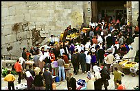 Crowds outside Damascus Gate. Jerusalem, Israel (color)