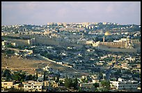 Old town skyline with remparts and Dome of the Rock. Jerusalem, Israel (color)