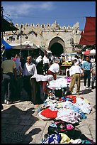 Street market inside the old town next to the remparts. Jerusalem, Israel