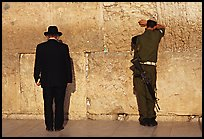 Orthodox Jew and soldier at the Western Wall. Jerusalem, Israel