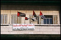 Palestinian flags and inscriptions in arabic in front of a school, East Jerusalem. Jerusalem, Israel (color)