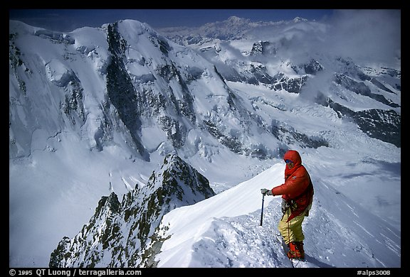 Alpinist near the top of Monte Rosa,  Switzerland.