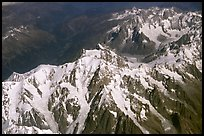 West face of Mont-Blanc photographed from a commercial airplane, Italy and France. (color)