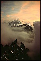 Mont Blanc and approaching storm clouds seen from Les Drus