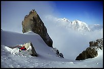 Bivy at the base of Dent du Geant, Mont-Blanc Range, Alps, France. (color)