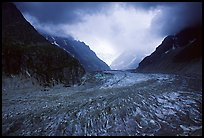 Mer de Glace (sea of ice), the second longest glacier in the Alps, seen from Montenvers. Alps, France