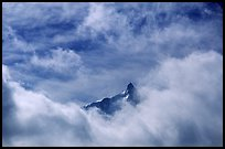 Aiguille du Midi summit emerges from the clouds