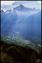 Mont Blanc range and Chamonix Valley, Alps, France. (color)