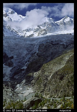 Looking up the Brenva Glacier,  Mont-Blanc range, Alps, Italy.