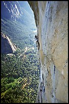 Valerio Folco at the belay, Tom McMillan cleaning the crux pitch. El Capitan, Yosemite, California (color)