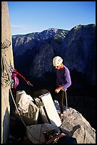 The first night is spent rather comfortably on Dolt Tower. El Capitan, Yosemite, California