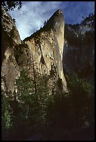 The constantly overhanging profile of the West Face. Leaning Tower, Yosemite, California (color)
