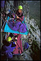 Crowded portaledge camp