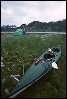 Camp on the flats near McBride Glacier with kayak parked nearby. Glacier Bay National Park, Alaska