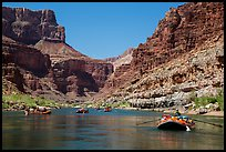 Rafts on placid stretch of Colorado River. Grand Canyon National Park, Arizona