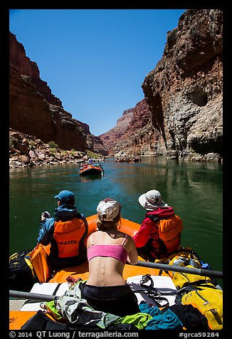 Rafting calm stretch of Colorado River. Grand Canyon National Park, Arizona