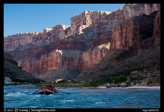 Raft below cliffs in the shade, Marble Canyon. Grand Canyon National Park, Arizona