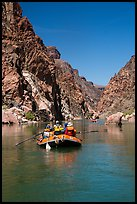 Oar-powered rafts in calm section of Granite Gorge. Grand Canyon National Park, Arizona
