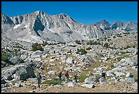 Hikers in Dusy Basin, morning. Kings Canyon National Park, California