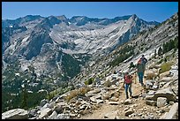 Hikers on trail above Le Conte Canyon. Kings Canyon National Park, California