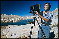 [photo by Buddy Squires] Large format photographer with camera, Dusy Basin. Kings Canyon National Park, California (color)