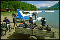 Getting ready to load the floatplane with the backpacking gear. Lake Clark National Park, Alaska (color)