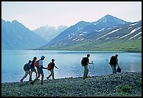 Group of hikers on the shores of Turquoise Lake. Lake Clark National Park, Alaska (color)