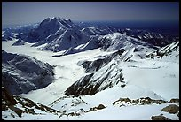 The route so far (outlined in red): the Kahilna glacier in front of Mt Foraker, Windy Corner, and the camp 14300 which is nested in a snow bowl. Denali, Alaska (color)