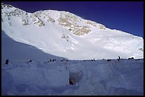 The ridge visible on the skyline is the West Rib, which was my planned itinerary. My companions had settled for the West Buttress, so I would do the second part of the climb solo. Denali, Alaska (color)