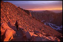 Hiking down Mt Whitney at sunset. Sequoia National Park, California (color)