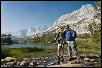 Father and son at Long Lake, John Muir Wilderness. Kings Canyon National Park, California