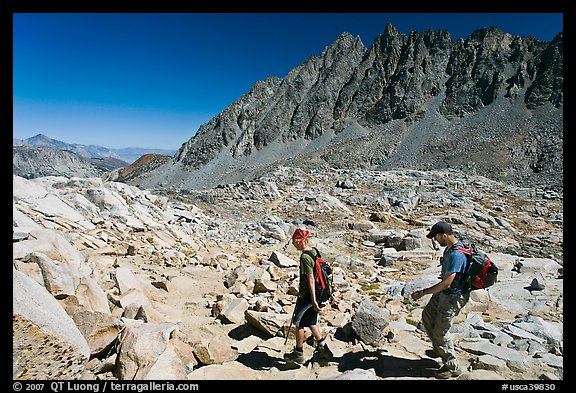 Hikers at Bishop Pass, John Muir Wilderness. Kings Canyon National Park, California
