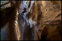 Woman rappels into chamber known as The Cathedral, Pine Creek Canyon. Zion National Park, Utah ( color)