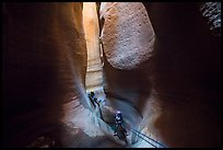 Canyoneers deep in subterranean part of Keyhole Canyon. Zion National Park, Utah ( color)