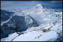 Mt Foraker and Kahilna Peaks seen from the West Rib of Mt McKinley. Denali National Park, Alaska, USA. (color)