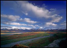 Wide braided rivers, Alaska Range, and clouds, late afternoon. Denali National Park ( color)