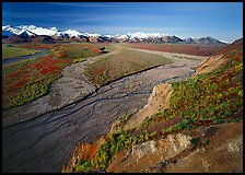 Braided river and Alaska Range from Polychrome Pass. Denali National Park, Alaska, USA. (color)