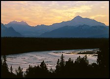 Mt Mc Kinley and Chulitna River at sunset. Denali National Park, Alaska, USA. (color)