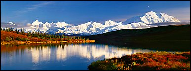 Tranquil autumn evening with Mount McKinley reflections. Denali  National Park (Panoramic color)