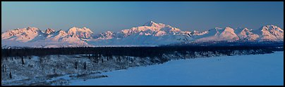 Alaska range, winter sunrise. Denali National Park, Alaska, USA. (color)