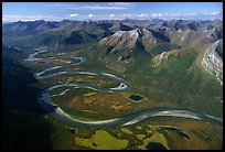 Aerial view of meandering Alatna river in mountain valley. Gates of the Arctic National Park ( color)