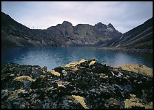Dark rock and moss, Aquarius Lake. Gates of the Arctic National Park ( color)