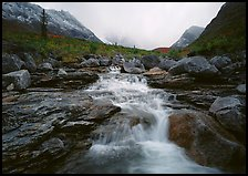 Stream and Arrigetch Peaks. Gates of the Arctic National Park, Alaska, USA. (color)