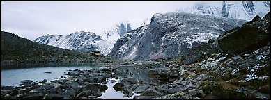 Arrigetch Peaks mineral landscape. Gates of the Arctic National Park (Panoramic color)