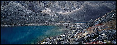 Turquoise lake and scree slopes. Gates of the Arctic National Park (Panoramic color)