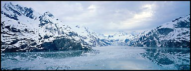 Fjord landscape with mountains and glaciers. Glacier Bay National Park, Alaska, USA.